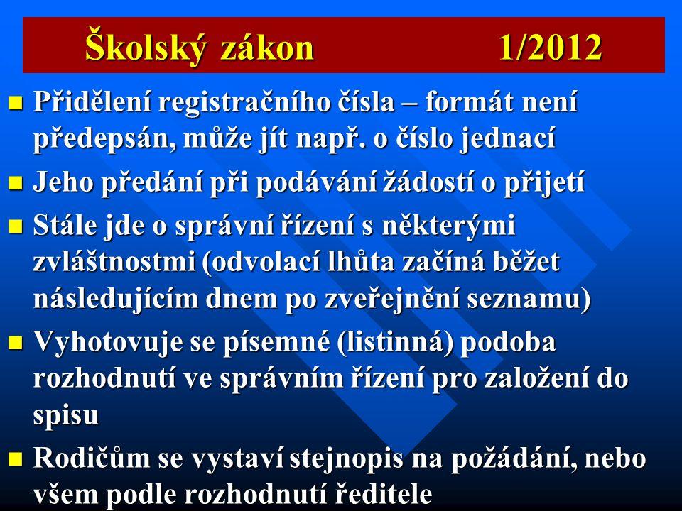 Školský zákon 1/2012 Přidělení registračního čísla – formát není předepsán, může jít např. o číslo jednací.