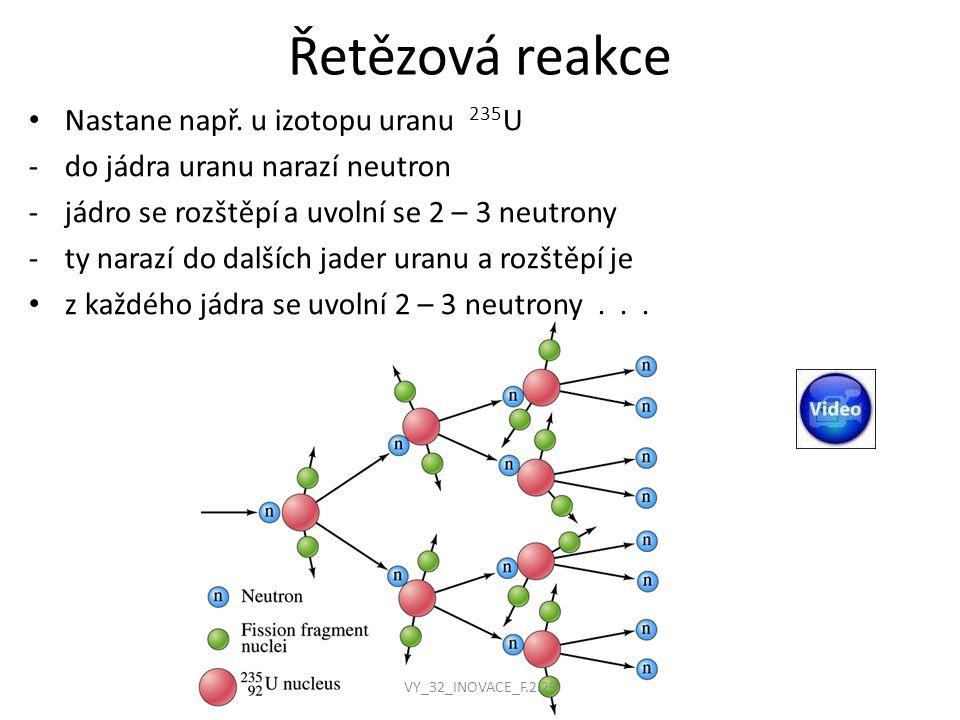 Řetězová reakce Nastane např. u izotopu uranu 235U