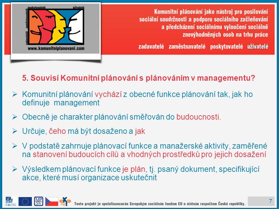 5. Souvisí Komunitní plánování s plánováním v managementu