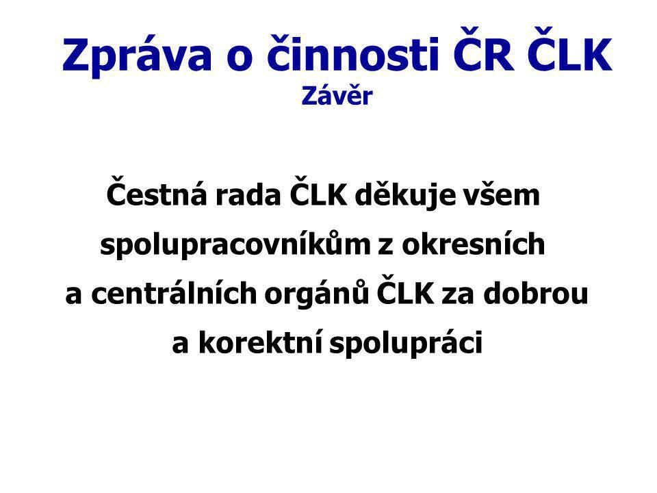Zpráva o činnosti ČR ČLK Závěr