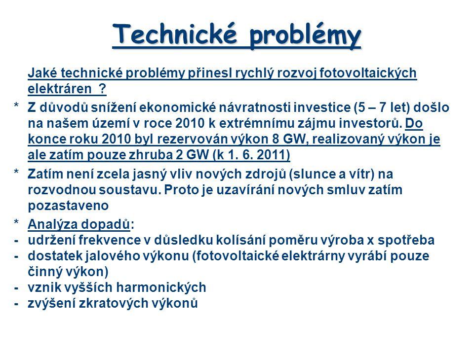 Technické problémy Jaké technické problémy přinesl rychlý rozvoj fotovoltaických elektráren
