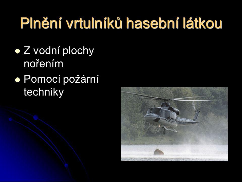 Plnění vrtulníků hasební látkou