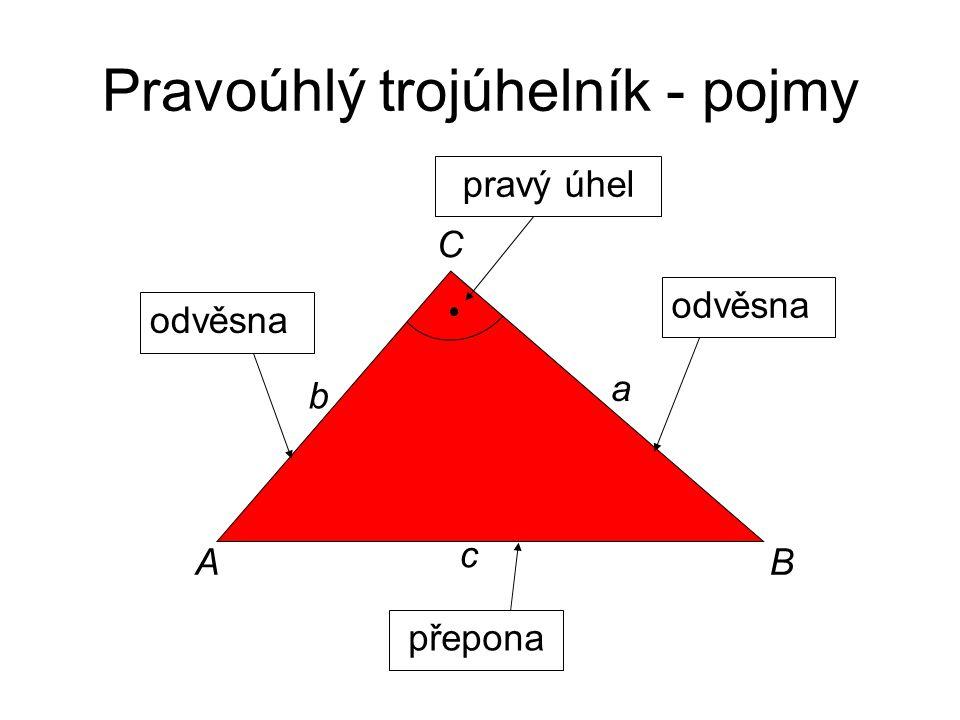 Pravoúhlý trojúhelník - pojmy