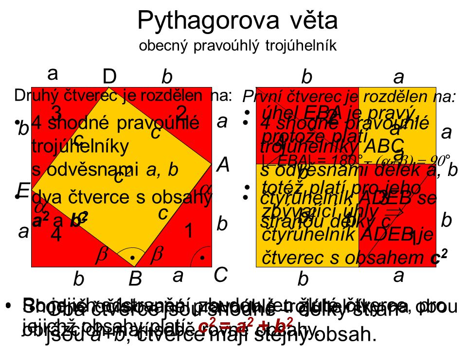 Pythagorova věta obecný pravoúhlý trojúhelník