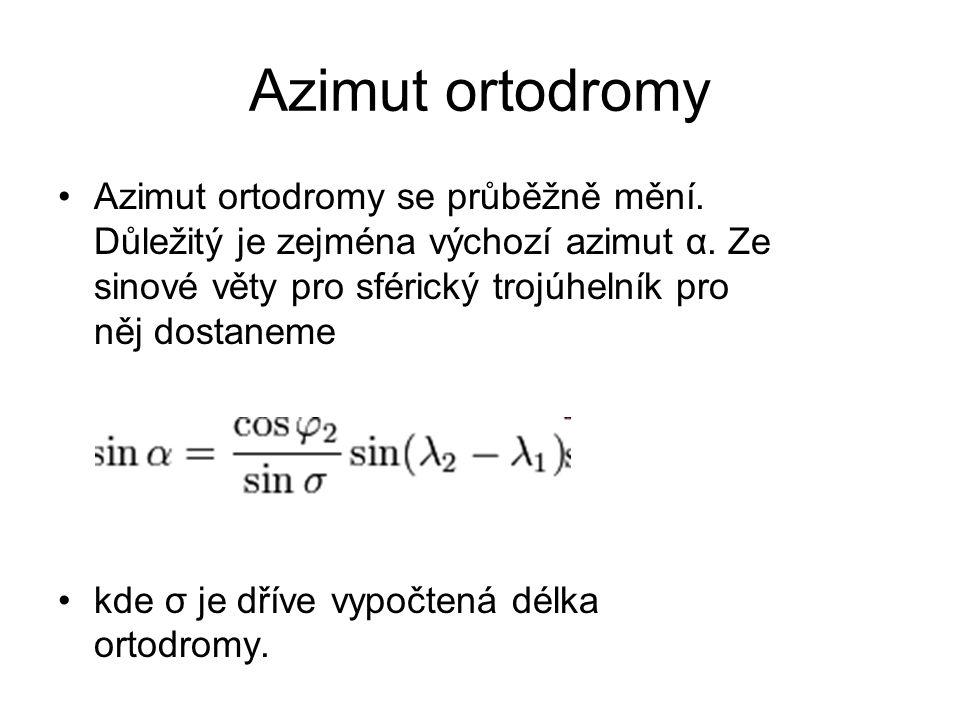 Azimut ortodromy Azimut ortodromy se průběžně mění. Důležitý je zejména výchozí azimut α. Ze sinové věty pro sférický trojúhelník pro něj dostaneme.