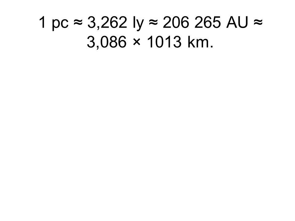 1 pc ≈ 3,262 ly ≈ 206 265 AU ≈ 3,086 × 1013 km.