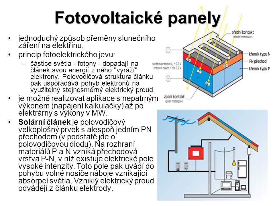 Fotovoltaické panely jednoduchý způsob přeměny slunečního záření na elektřinu, princip fotoelektrického jevu: