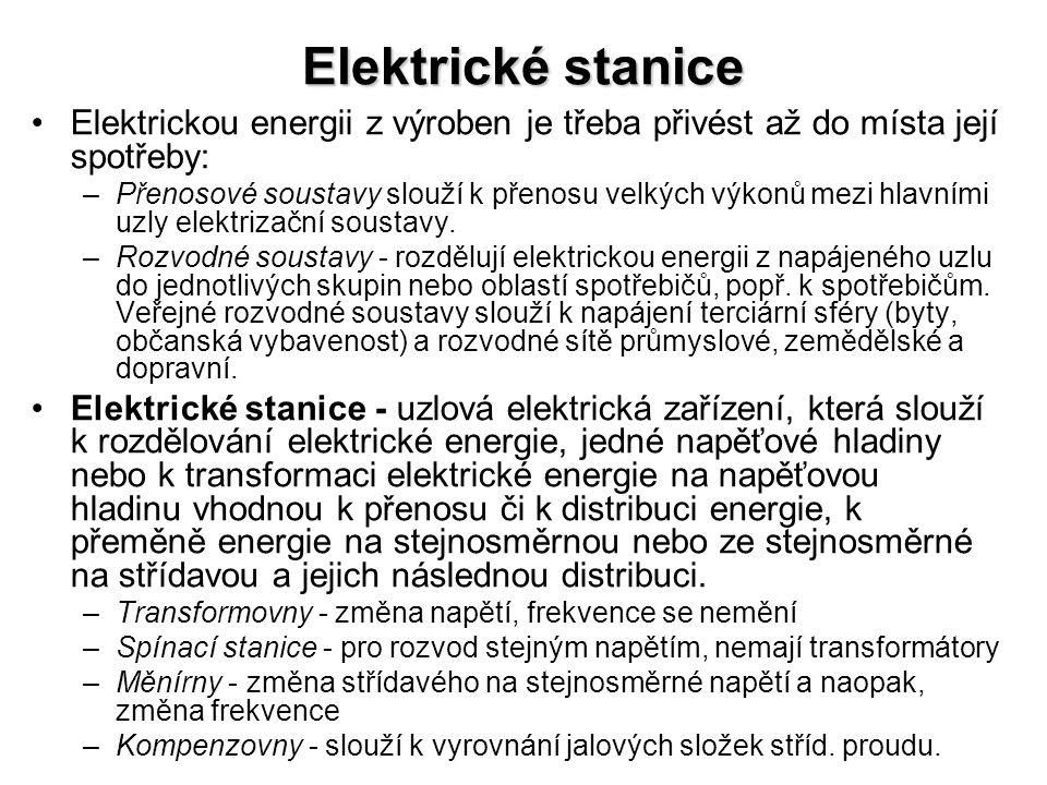 Elektrické stanice Elektrickou energii z výroben je třeba přivést až do místa její spotřeby: