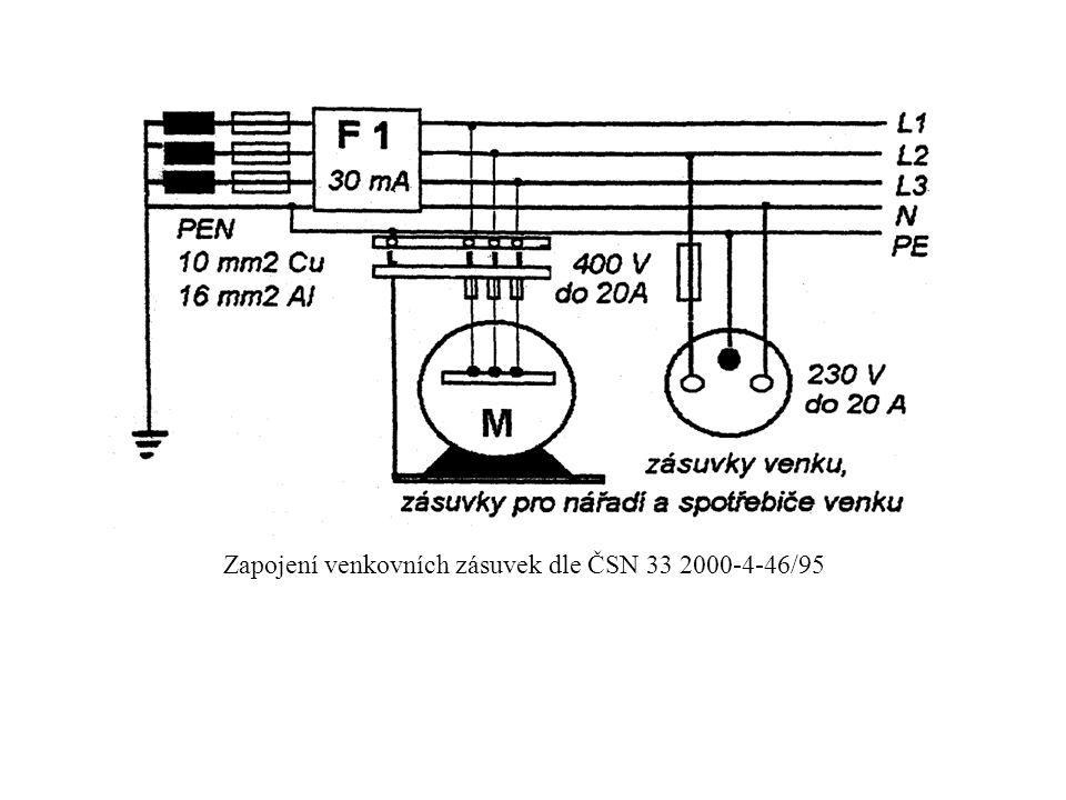 Zapojení venkovních zásuvek dle ČSN 33 2000-4-46/95