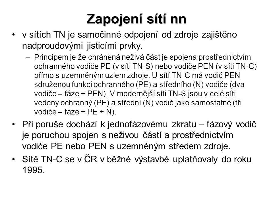 Zapojení sítí nn v sítích TN je samočinné odpojení od zdroje zajištěno nadproudovými jisticími prvky.