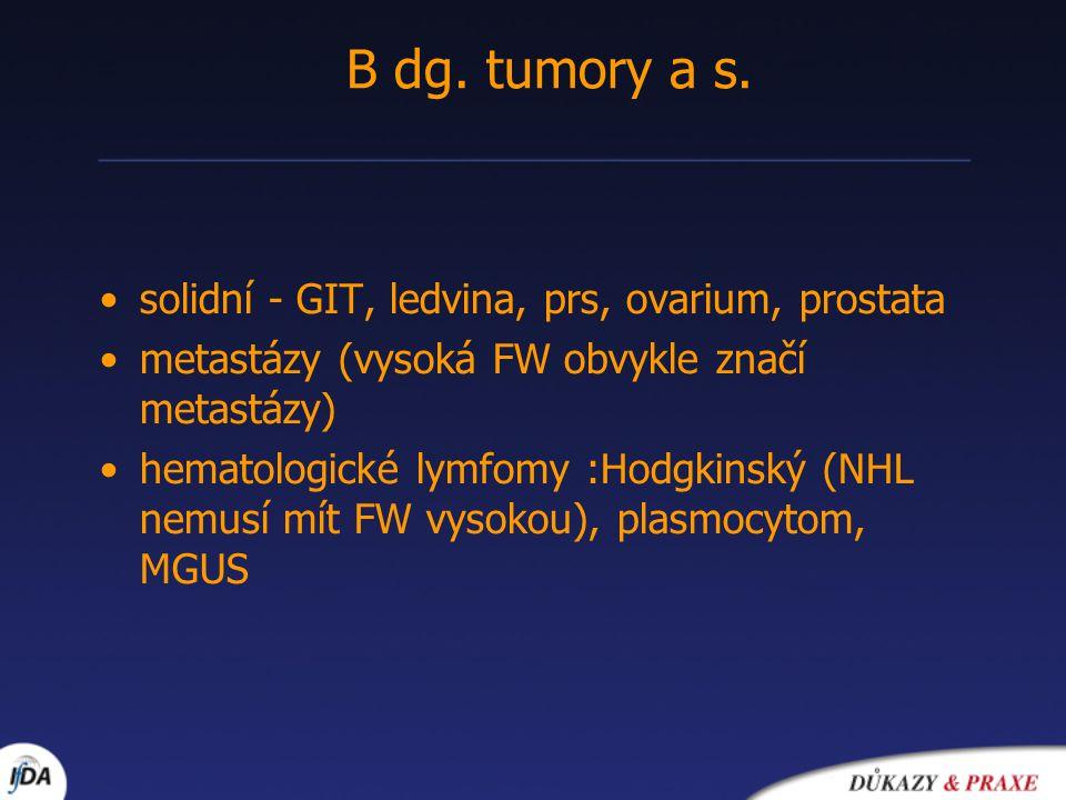 B dg. tumory a s. solidní - GIT, ledvina, prs, ovarium, prostata