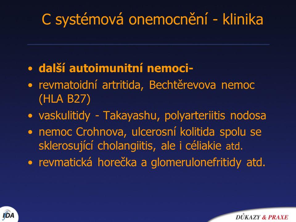 C systémová onemocnění - klinika