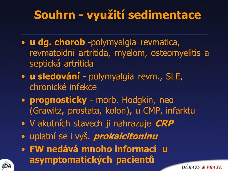 Souhrn - využití sedimentace