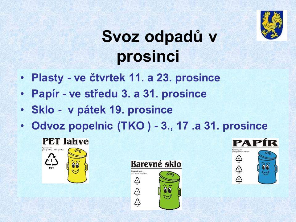 Svoz odpadů v prosinci Plasty - ve čtvrtek 11. a 23. prosince
