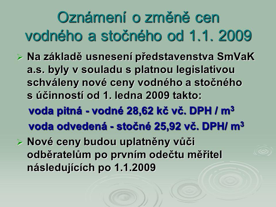 Oznámení o změně cen vodného a stočného od 1.1. 2009