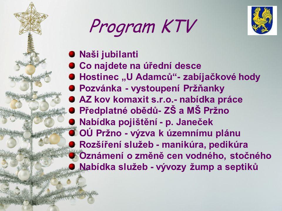 Program KTV Naši jubilanti Co najdete na úřední desce