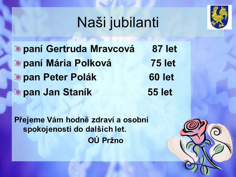 Naši jubilanti paní Gertruda Mravcová 87 let paní Mária Polková 75 let