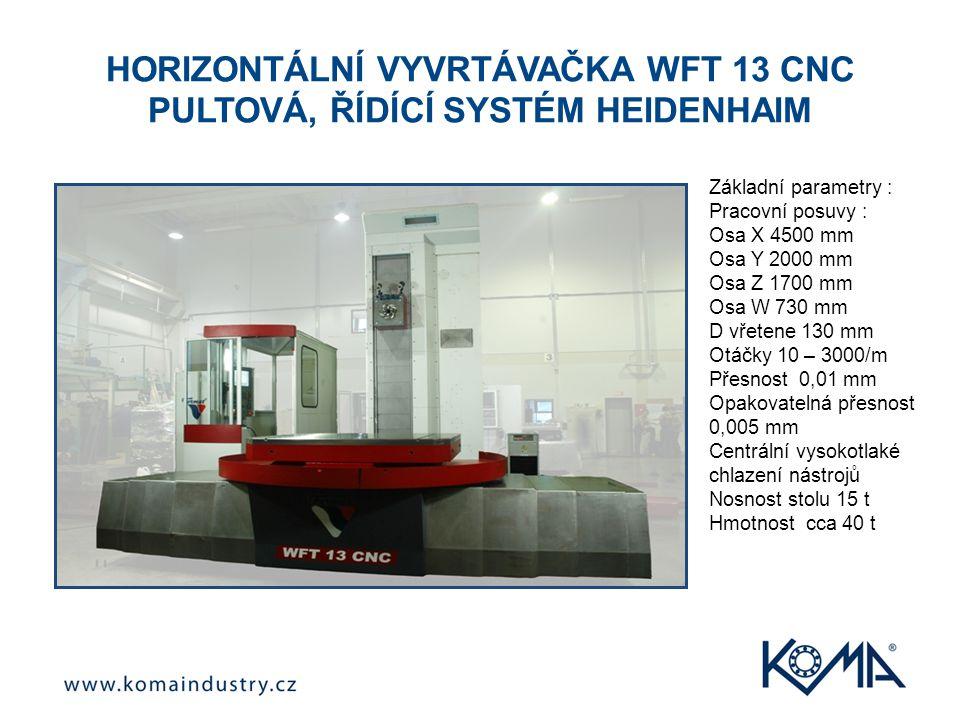 HORIZONTÁLNÍ VYVRTÁVAČKA WFT 13 CNC PULTOVÁ, ŘÍDÍCÍ SYSTÉM HEIDENHAIM