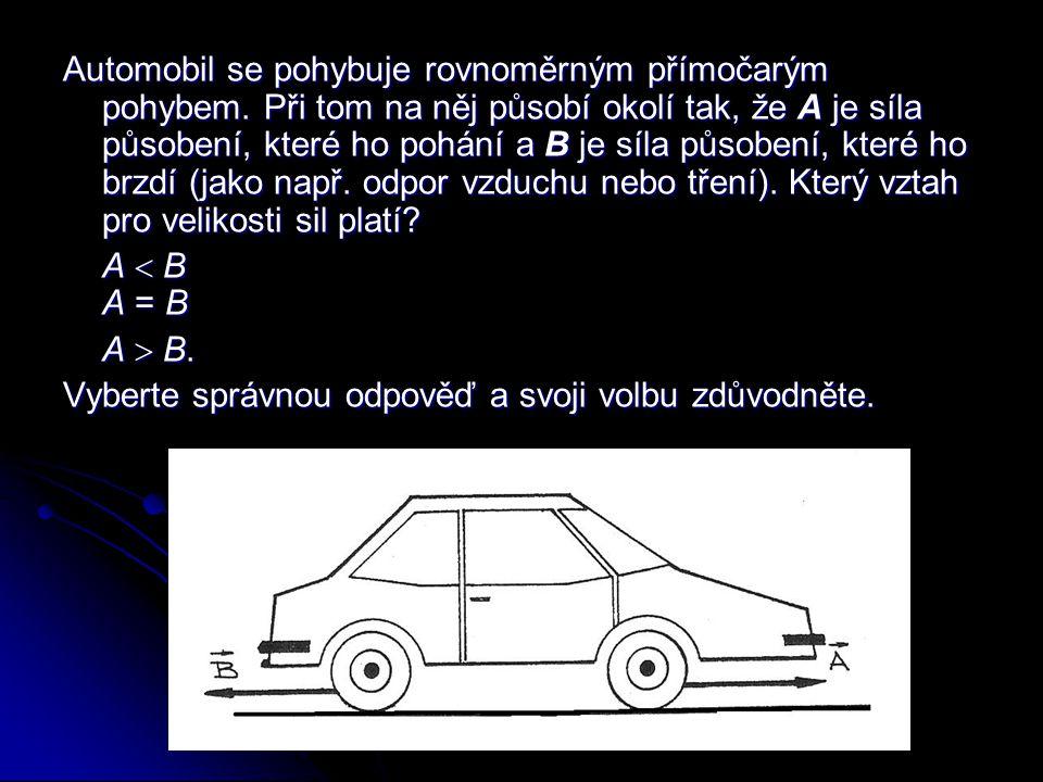 Automobil se pohybuje rovnoměrným přímočarým pohybem