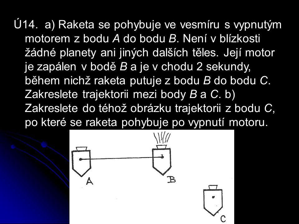 Ú14. a) Raketa se pohybuje ve vesmíru s vypnutým motorem z bodu A do bodu B.