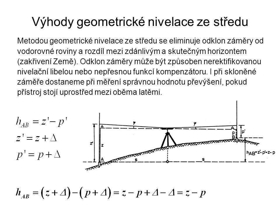 Výhody geometrické nivelace ze středu