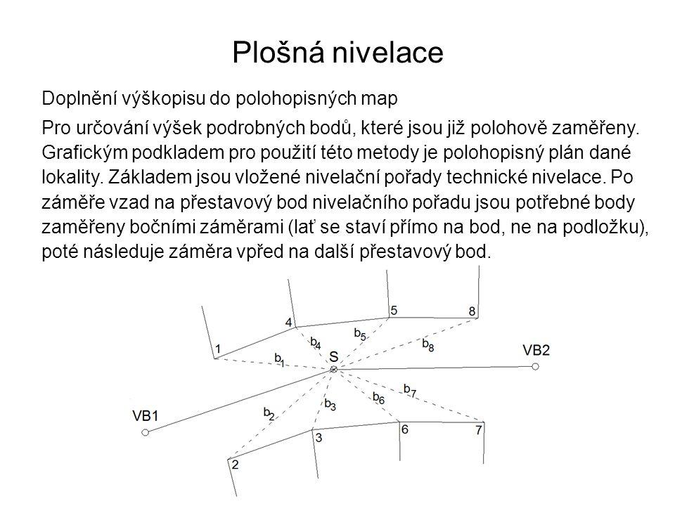 Plošná nivelace Doplnění výškopisu do polohopisných map