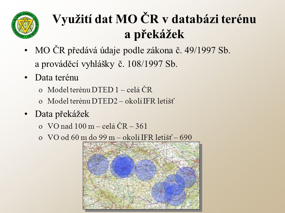 Využití dat MO ČR v databázi terénu a překážek