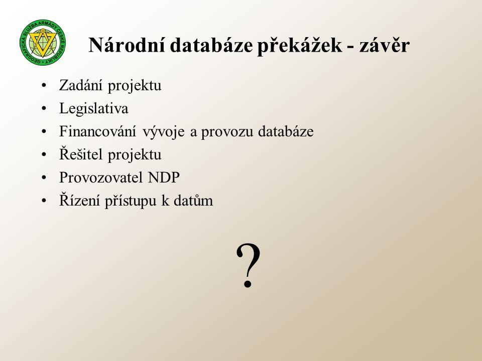Národní databáze překážek - závěr