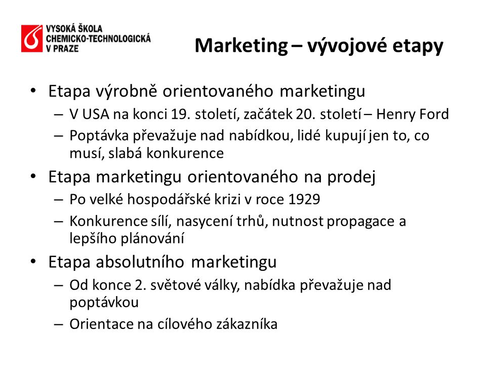 Marketing – vývojové etapy