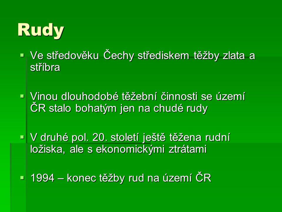 Rudy Ve středověku Čechy střediskem těžby zlata a stříbra