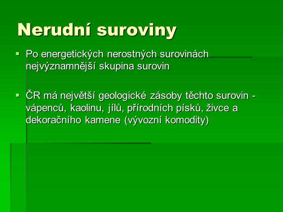 Nerudní suroviny Po energetických nerostných surovinách nejvýznamnější skupina surovin.