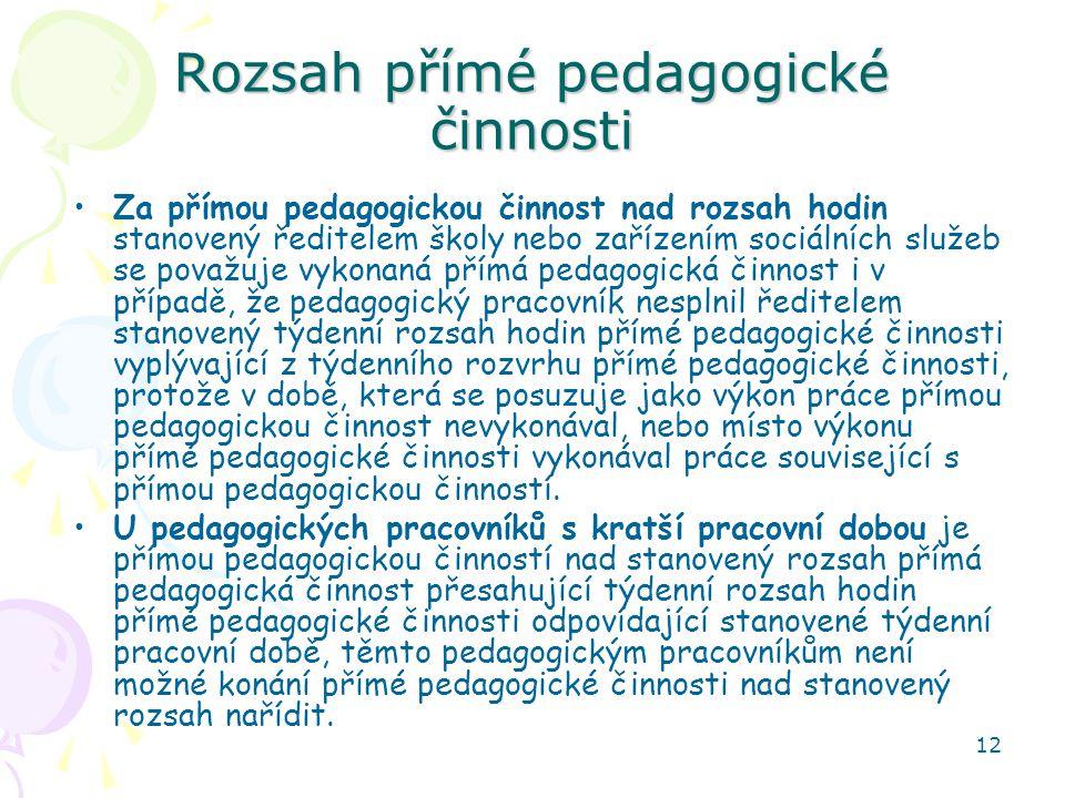 Rozsah přímé pedagogické činnosti