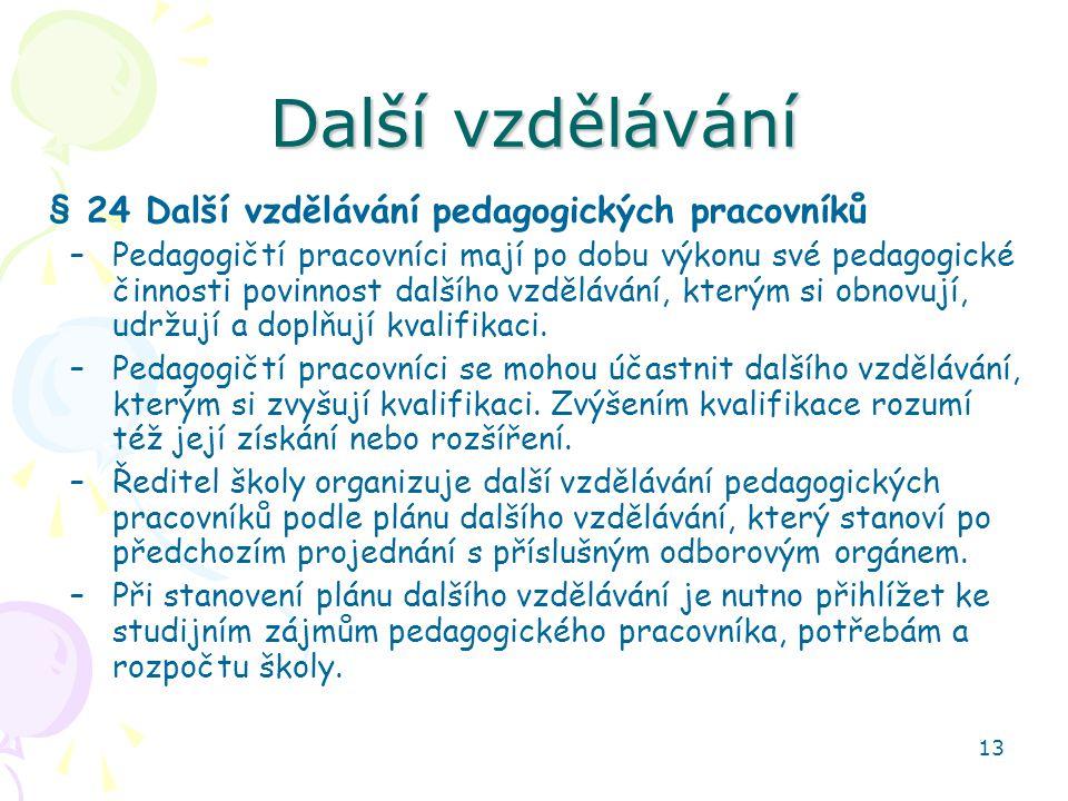 Další vzdělávání § 24 Další vzdělávání pedagogických pracovníků