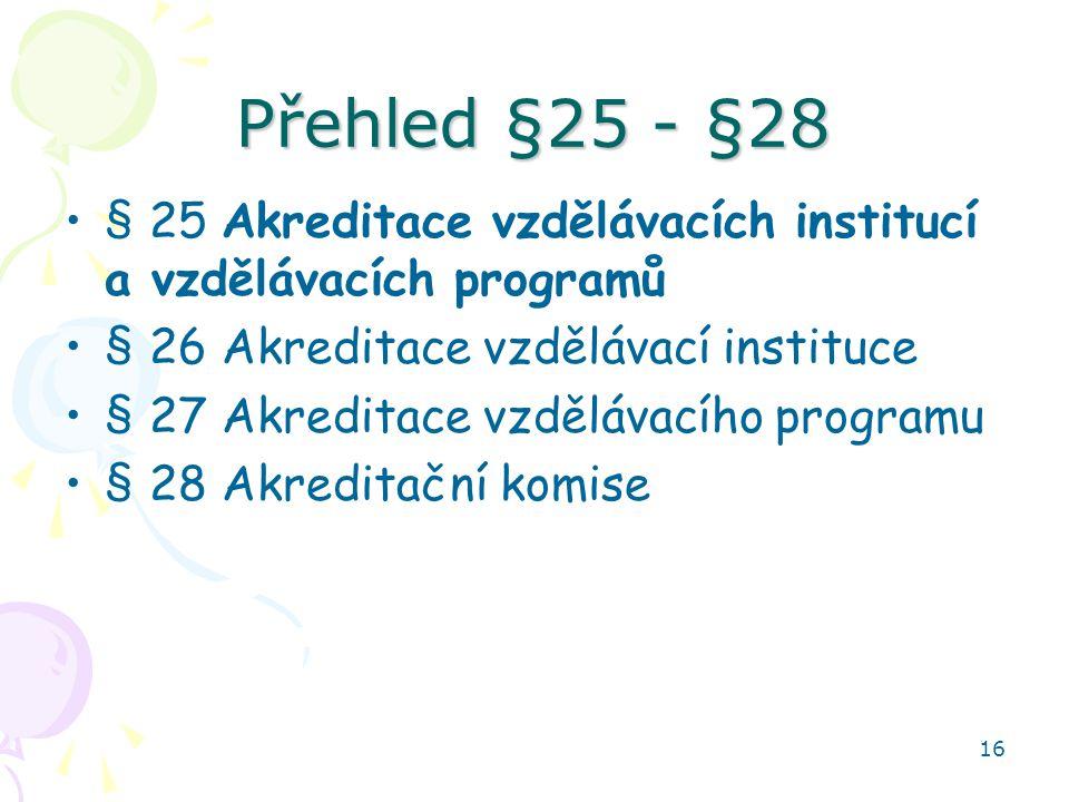 Přehled §25 - §28 § 25 Akreditace vzdělávacích institucí a vzdělávacích programů. § 26 Akreditace vzdělávací instituce.