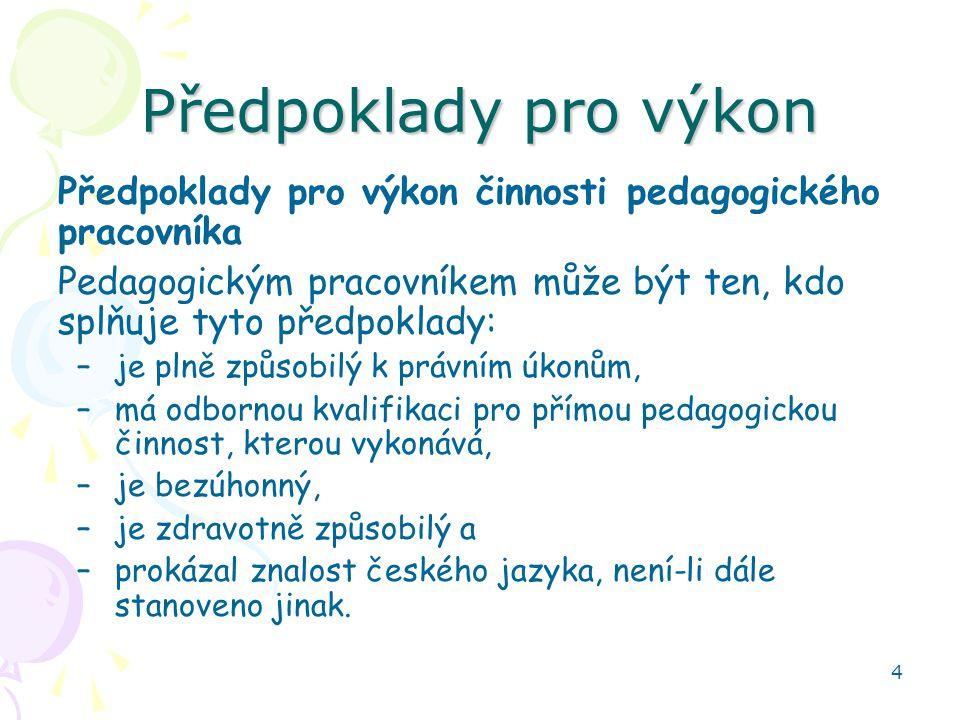 Předpoklady pro výkon Předpoklady pro výkon činnosti pedagogického pracovníka. Pedagogickým pracovníkem může být ten, kdo splňuje tyto předpoklady:
