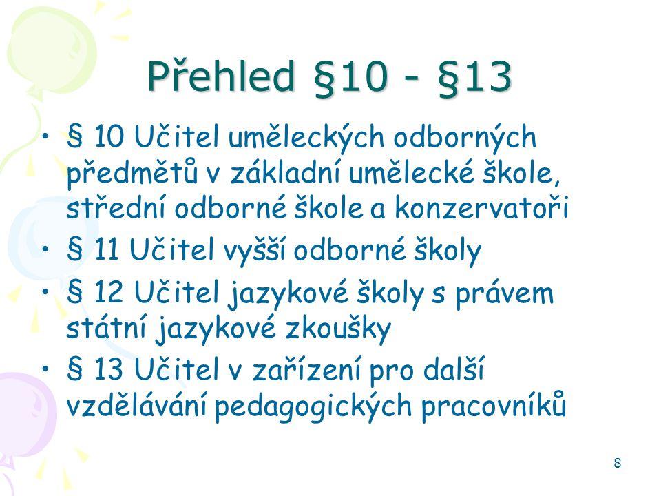 Přehled §10 - §13 § 10 Učitel uměleckých odborných předmětů v základní umělecké škole, střední odborné škole a konzervatoři.