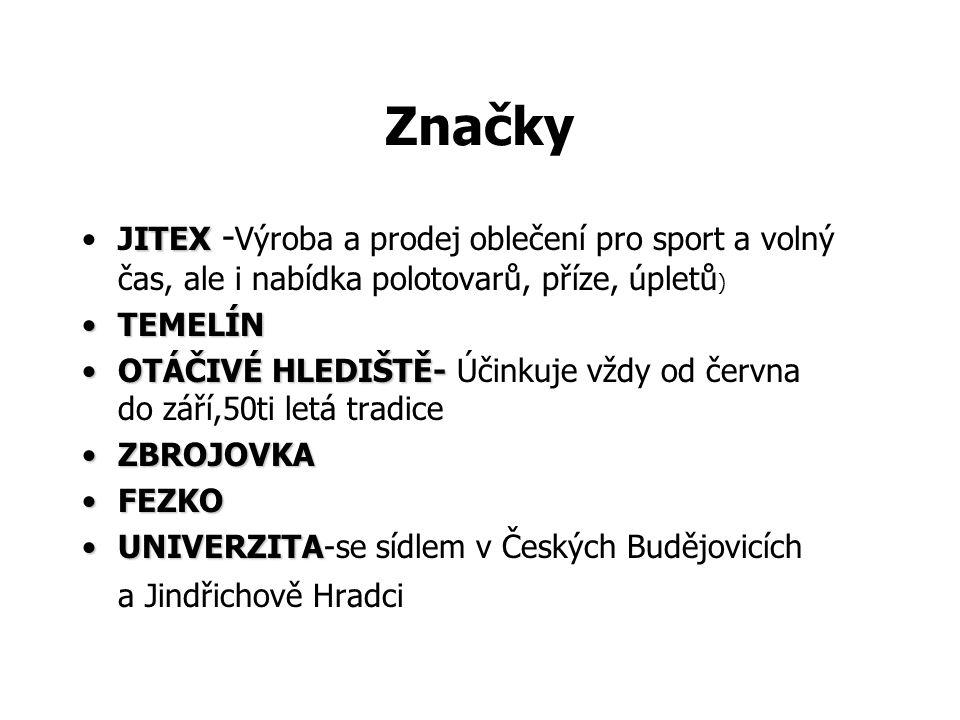 Značky JITEX -Výroba a prodej oblečení pro sport a volný čas, ale i nabídka polotovarů, příze, úpletů)