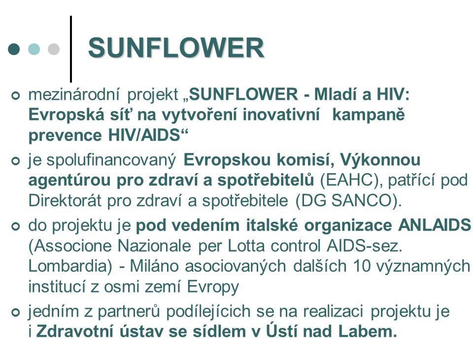 """SUNFLOWER mezinárodní projekt """"SUNFLOWER - Mladí a HIV: Evropská síť na vytvoření inovativní kampaně prevence HIV/AIDS"""