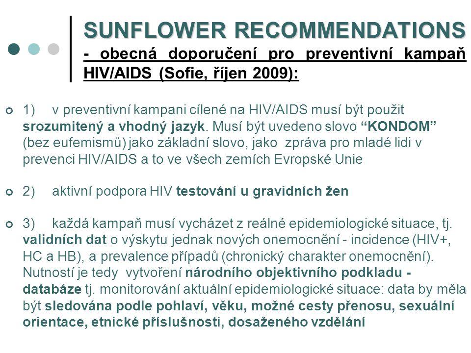 SUNFLOWER RECOMMENDATIONS - obecná doporučení pro preventivní kampaň HIV/AIDS (Sofie, říjen 2009):