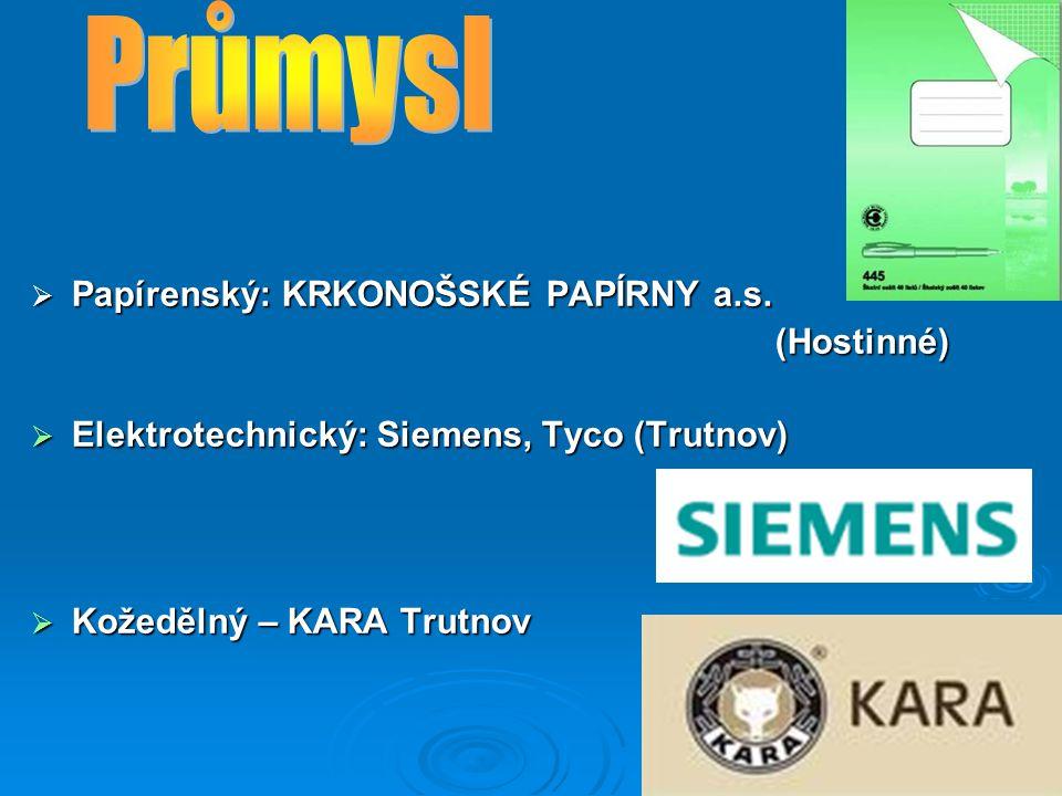 Průmysl Papírenský: KRKONOŠSKÉ PAPÍRNY a.s. (Hostinné)