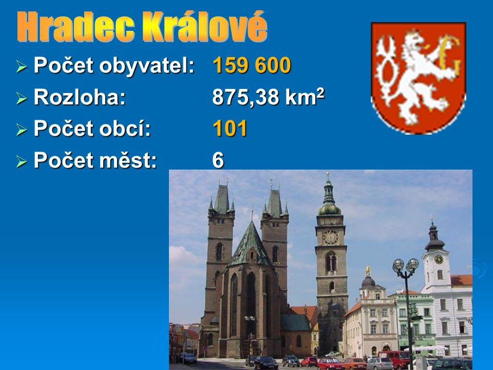 Hradec Králové Počet obyvatel: 159 600 Rozloha: 875,38 km2