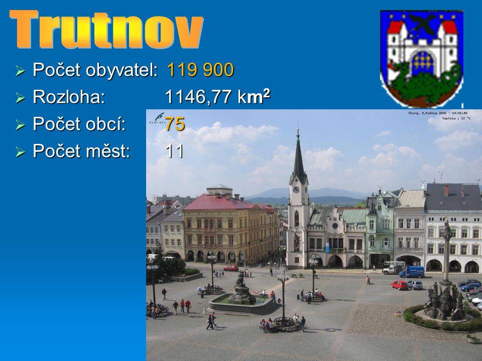 Trutnov Počet obyvatel: 119 900 Rozloha: 1146,77 km2 Počet obcí: 75