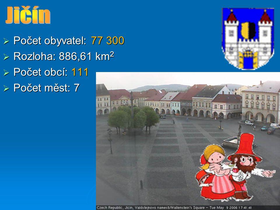 Jičín Počet obyvatel: 77 300 Rozloha: 886,61 km2 Počet obcí: 111