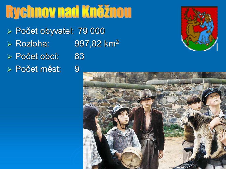 Rychnov nad Kněžnou Počet obyvatel: 79 000 Rozloha: 997,82 km2