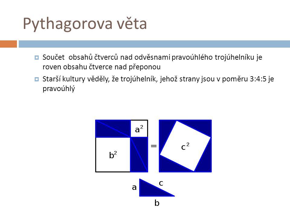 Pythagorova věta Součet obsahů čtverců nad odvěsnami pravoúhlého trojúhelníku je roven obsahu čtverce nad přeponou.