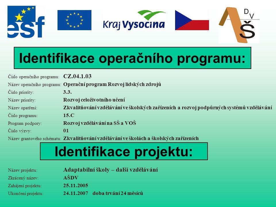 Identifikace operačního programu: