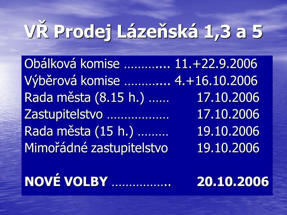 VŘ Prodej Lázeňská 1,3 a 5 Obálková komise ……….... 11.+22.9.2006