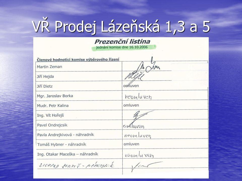 VŘ Prodej Lázeňská 1,3 a 5 Výběrová komise měla 7 členů (a také 7 náhradníků).
