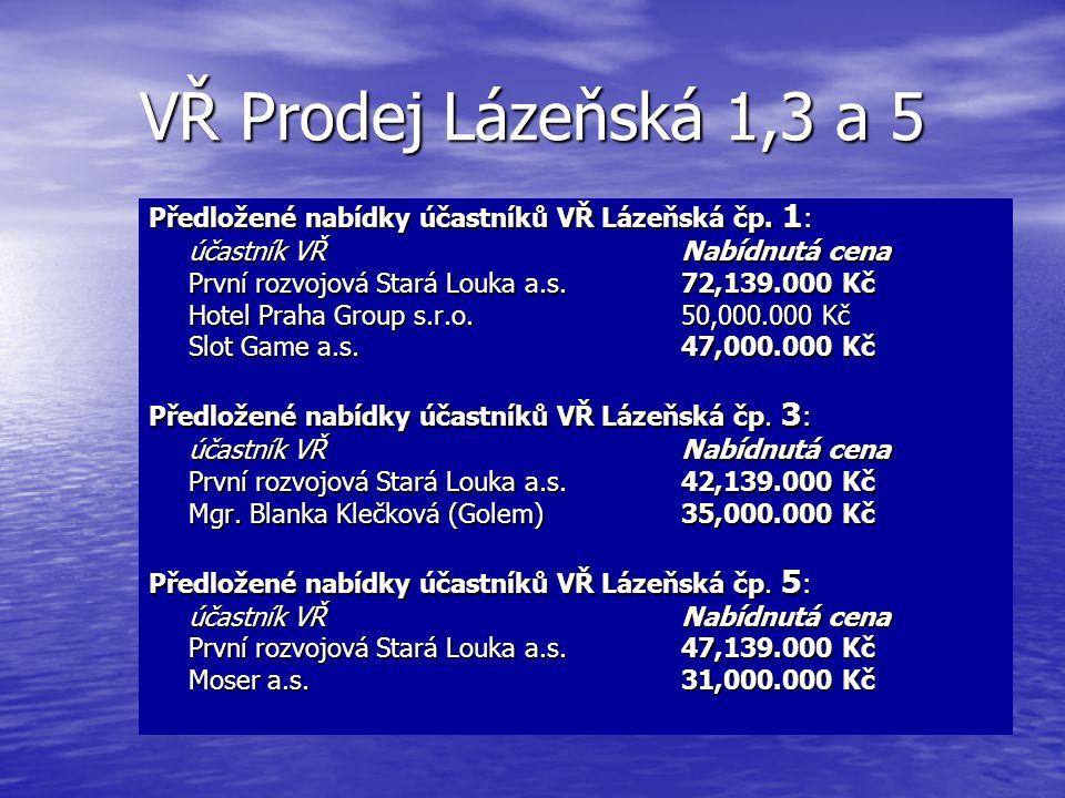 VŘ Prodej Lázeňská 1,3 a 5 Předložené nabídky účastníků VŘ Lázeňská čp. 1: účastník VŘ Nabídnutá cena