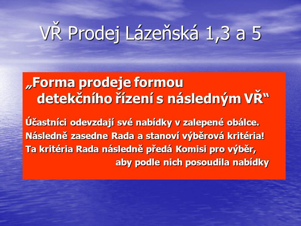 """VŘ Prodej Lázeňská 1,3 a 5 """"Forma prodeje formou detekčního řízení s následným VŘ Účastníci odevzdají své nabídky v zalepené obálce."""